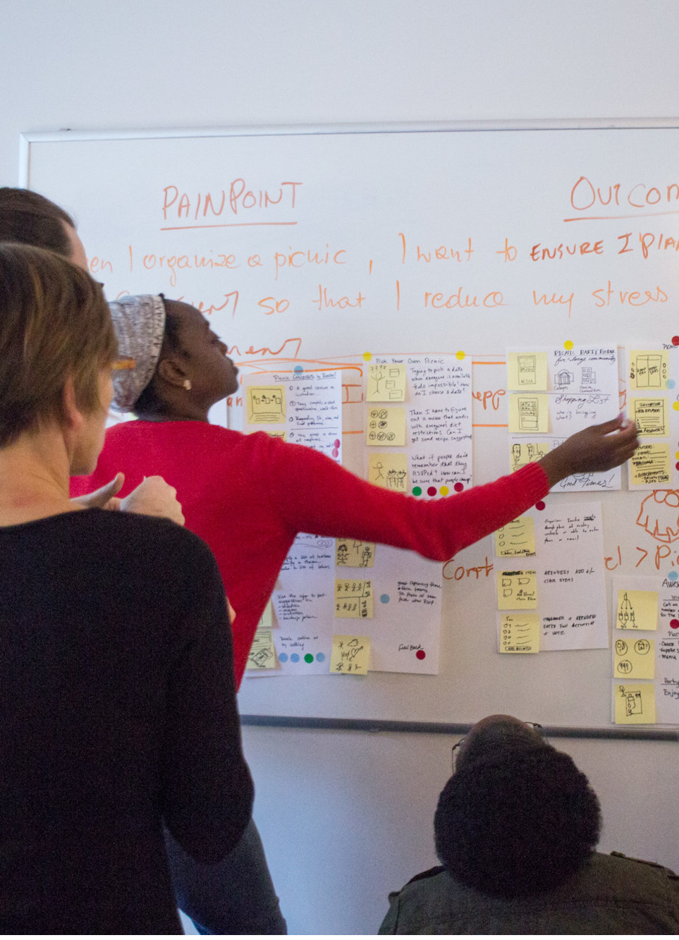 Pining up storyboard during a product design sprint