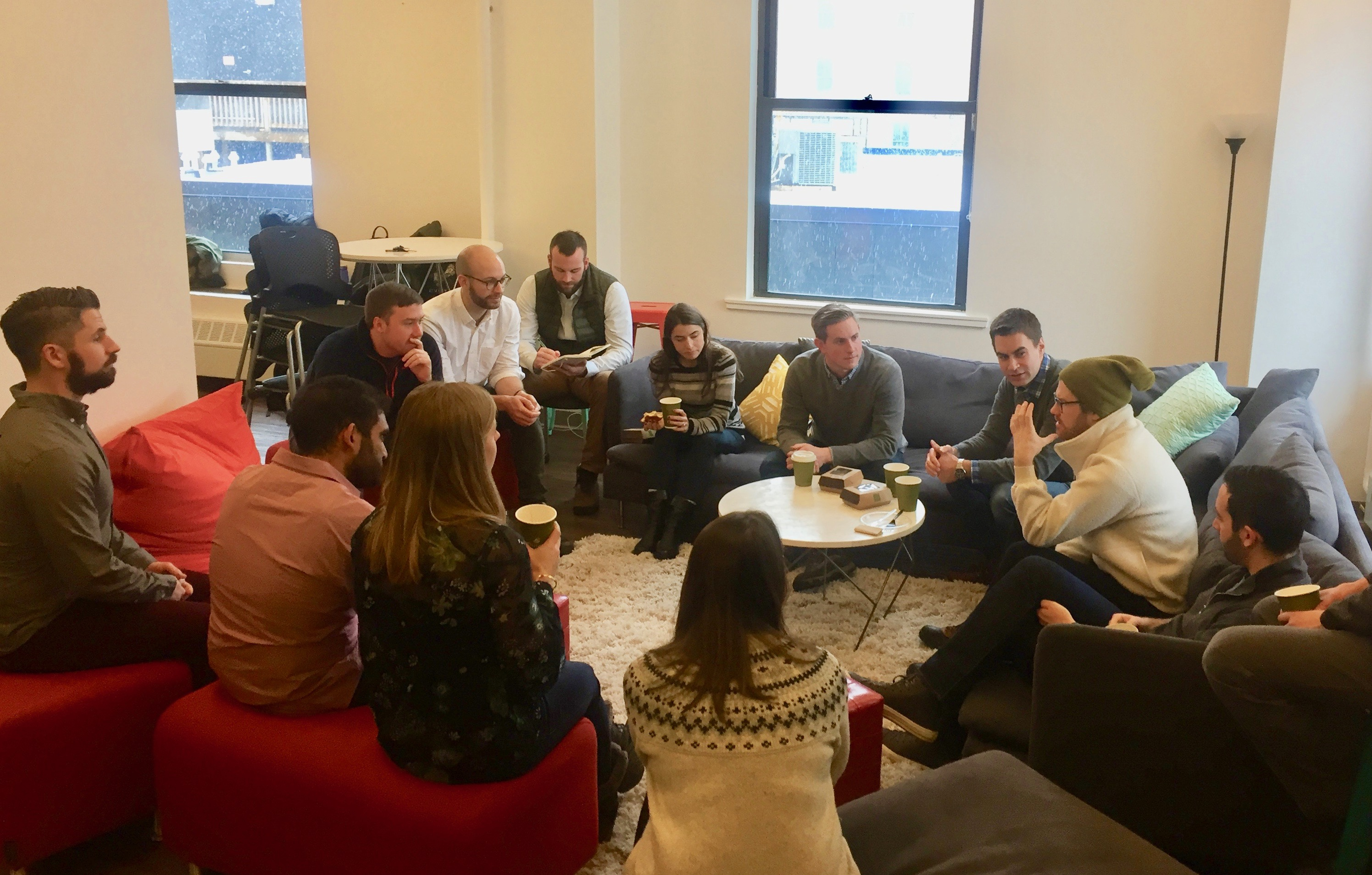 <p>Boston Product Breakfast group meeting in thoughtbot's Boston studio</p>